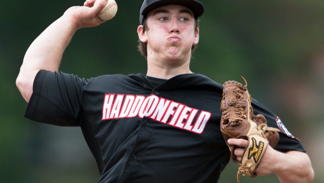 Haddonfield's Michael McLaughlin delivers a pitch in the 7th inning of the Camden County baseball tournament final game between Haddonfield and Cherry Hill West.