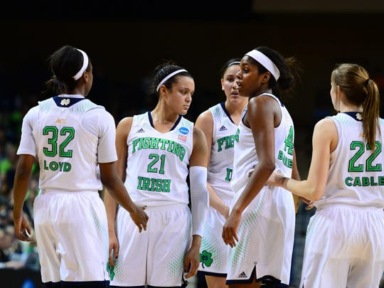 Mar 24, 2014; Toledo, OH, USA; Notre Dame Fighting Irish players huddle against the Arizona State Sun Devils in the first half of a women's college basketball game in the second round of the NCAA Tournament at Savage Arena. Mandatory Credit: Andrew Weber-USA TODAY Sports