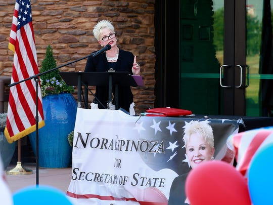 Republican candidate for Secretary of State, Nora Espinoza, speaks at a Four Corners Federated Republican Women gathering on Thursday at Piñon Hills Community Church.