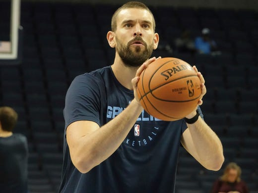 Memphis Grizzlies Marc Gasol warms up before the first half of a preseason NBA basketball game against the Indiana Pacers,  Saturday, Oct. 6, 2018, in Memphis, Tenn. (AP Photo/Karen Pulfer Focht)
