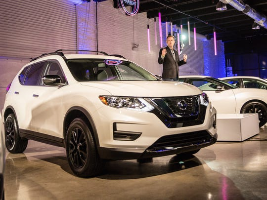 Nissan Director of Marketing Eric Ledieu debuts six new Midnight Edition models at the 2017 Chicago Auto Show kickoff part on Wednesday, Feb. 8, 2017, in Chicago.