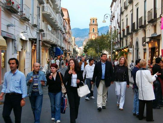 All of Sorrento turns out to enjoy the evening passeggiata,