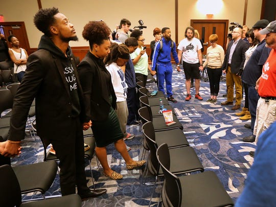 After the Middle Tennessee State University's Forrest Hall taks force decided to recommend that the name of Forrest Hall be changed due to a majority of the members of the task force recommmending the change, many of those in favor of the name change attending the meeting gathered for a chant.