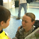 Elizabeth Dalalla reunites with her 6-year-old son after being deployed in Kuwait for 7 months.