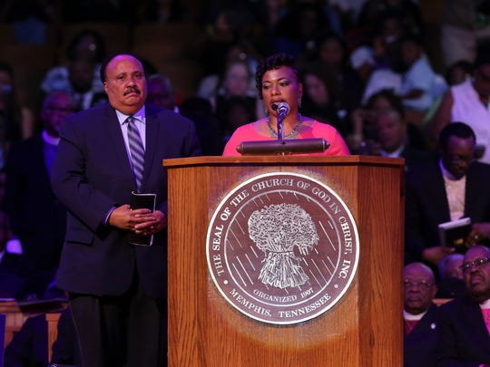 "Dr. Bernice King speaks with her brother, Martin Luther King III, by her side during the Mountaintop speech commemoration at the Mason Temple of the Church of God in Christ Tuesday, April 3, 2018, in Memphis, Tenn. The church is where Rev. Martin Luther King Jr. delivered his final speech, which contained the phrase, ""I've been to the mountaintop,"" on April 3, 1968, the night before he was assassinated. Seven demonstrators were arrested during the protest."