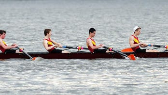 An Arlington boat competes in Triangulars on the Hudson River in Poughkeepsie on Saturday. From left, are Garrett Edick, Oliver Sampson , Joe Bourqe, William Quentin. May 3, 2014