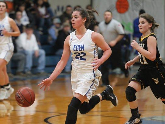 Eden High School's Emily Bunger (22) brings the ball