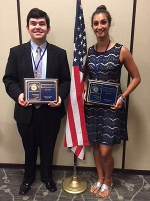 Lance Lunceford, left, and Lindsay Barkett  were selected Florida District Students of the Year at the Exchange Club Florida District Convention in Melbourne.