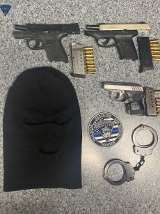 Massachusetts State Police said troopers arrested four men on Route 24 in West Bridgewater for firearms charges after pulling over a car on Saturday. Troopers said they stopped the car for motor vehicle violations, and a brief investigation led them to discover the weapons.