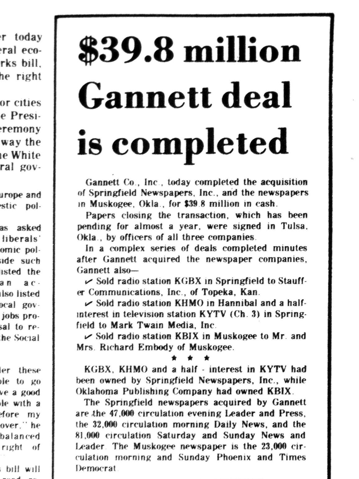 1977: Gannett purchases the News-Leader