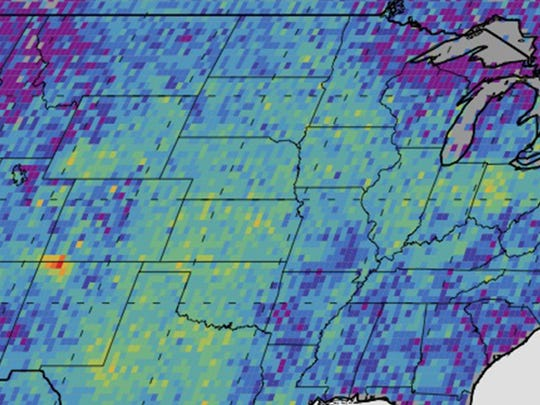 A map of the U.S. shows methane emissions recorded
