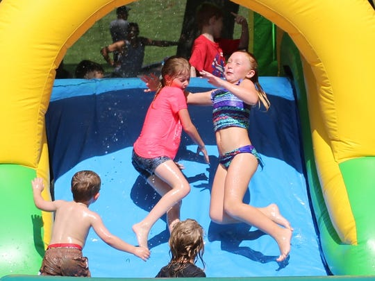 Water bounce houses were a favorite for children at the 2016 edition of Saturday in the Park.
