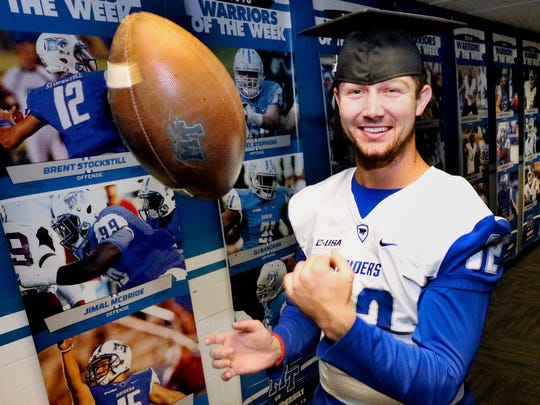 MTSU's quarterback Brent Stockstill seen here in the football hallway in Murphy Center  on Thursday, Dec. 8, 2016, will be at Murphy Center on Saturday to graduate early.