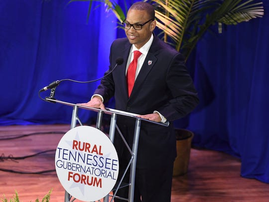 Lane College President Dr. Logan Hampton welcomes guest to the Rural Tennessee Gubernatorial Forum, Tuesday, April 17, at Lane College. Candidates Craig Fitzhugh, Randy Boyd, Bill Lee, and Karl Dean participated in the forum answering questions from education to the urban-rural divide.