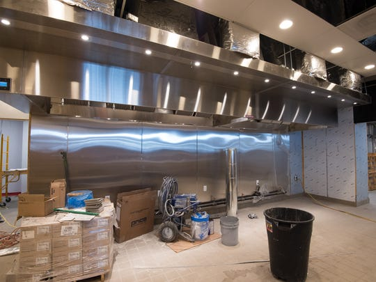 View of the kitchen area under construction at the