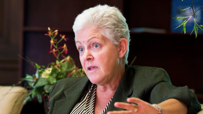 "Environmental Protection Agency Administrator Gina McCarthy speaks to the Associated Press during an Aug. 2, 2013, interview at her office in Washington. The EPA's inspector general is accusing a unit run by President Obama's political staff inside the EPA of operating as a ""rogue law enforcement agency"" that is blocking independent investigations and violating federal law."