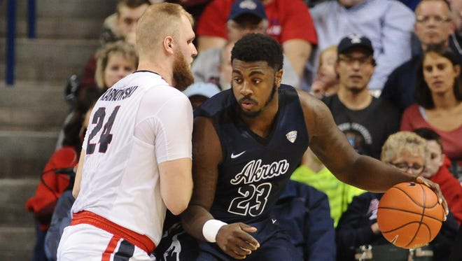 Akron Zips center Isaiah Johnson (23) fights for position against Gonzaga Bulldogs center Przemek Karnowski (24) during the first half at McCarthey Athletic Center in December of 2016.