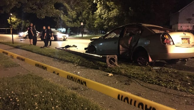 Police say a man caused two crashes, including one on Joseph Avenue, that knocked over a light pole late Tuesday night in Rochester.
