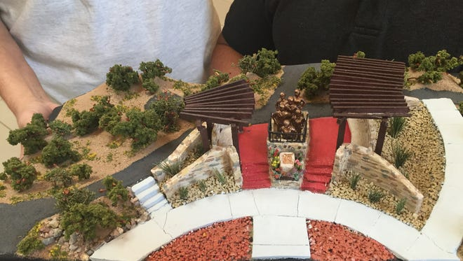 A model of the proposed Women Veterans Monument, to be built at Veterans Memorial Park in Las Cruces.