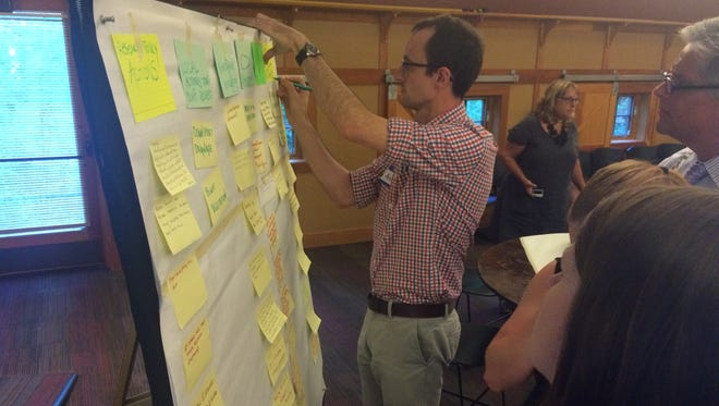 Adam Bechle of the UW Sea Grant Institute arranges post-it notes on which lakeshore residents expressed their hopes, wishes and concerns about bluff erosion.