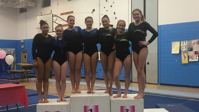 Section 9 gymnastics state qualifiers Jalynn Harrison of Kingston/New Paltz, Wallkill's Emma Frisbie, Miah Frisbie and Amanda Snyder, and Roosevelt's Dannika Bolitho, Clara Patton and Shannon Kelly.