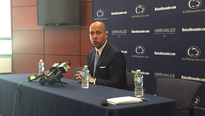 Penn State football coach James Franklin speaks during Monday's stop at Penn State York during the fifth edition of the Penn State Coaches Caravan.