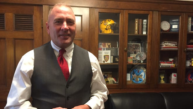 Rep. Clay Higgins, a freshman Republican from Louisiana, is still settling into his Washington, D.C., office.