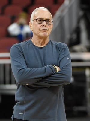 SMU coach Larry Brown during practice before the second round of the 2015 NCAA tournament.
