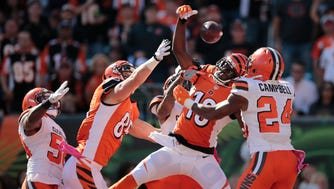 Bengals wide receiver A.J. Green catches a touchdown pass in the end zone as time expires in the second quarter.