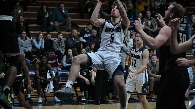 Senior Drew Maschoff (5) averages 18 points and 5.5 rebounds for Washburn's men's basketball team, which will host Central Oklahoma at 6 p.m. Monday at Lee Arena.