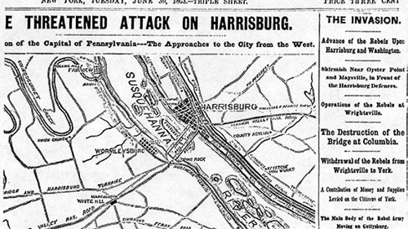 The New York Herald reported on the Confederate threat to Harrisburg, the burning of the Wrightsville bridge and other developments from the rebel occupation of York County in its Tuesday, June 30, edition. This map focuses on the rebel advance toward the west bank of the Susquehanna River opposite Harrisburg. The availability of the telegraph enabled correspondents to send news about the withdrawal of the rebels from Wrightsville to York and other events in time for Tuesday publication.