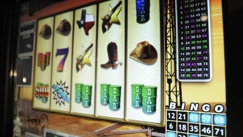 Electronic bingo machines are shown at VictoryLand in Shorter. Day 2 of the trial is underway.