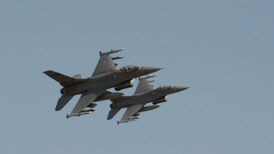 Air Force F-16 Fighting Falcons from the South Carolina Air National Guard's 169th Fighter Wing, located at McEntire Joint National Guard Base in Eastover, S.C., participate in strafing and bombing exercises on March 16, 2016, at the Poinsett Bombing Range in Wedgefield, S.C.