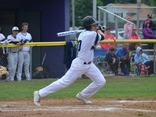 Gull Lake's Cade Stanton takes a swing during this