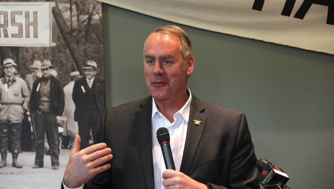 Ryan Zinke, Secretary of the Department of Interior, speaks on March 20, 2018 at Horicon Marsh Education and Visitor Center in Horicon, Wis. Zinke presented Wisconsin DNR officials a ceremonial check for nearly $35 million, the amount eligible to Wisconsin under 2018 allocations of the Federal Wildlife and Sport Fish Restoration programs. The programs derive their funding from excise taxes placed on firearms, ammunition, fishing and archery equipment.