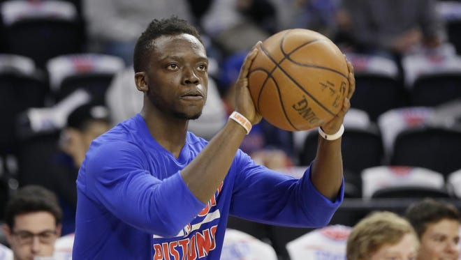 Pistons guard Reggie Jackson warms up before Game 4 in a first-round playoff series against the Cleveland Cavaliers, Sunday, April 24, 2016 in Auburn Hills, Mich.