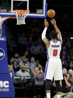 Detroit Pistons center Andre Drummond shoots a free throw against the Houston Rockets on Monday, Nov. 30, 2015, in Auburn Hills.