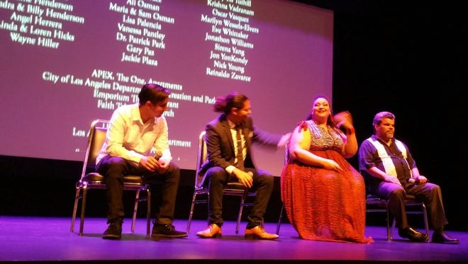 From left: Tarek Tohme, who directed the film Hold On, and actors Cemi Guzman, Micayla De Ette and Luis Guzman, who star in it.