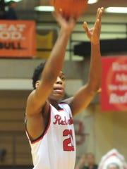Richmond's Christian Harvey shoots a free throw as