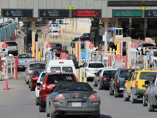 Vehicles line up to enter the U.S. at the Paso Del Norte international bridge in El Paso, Texas.