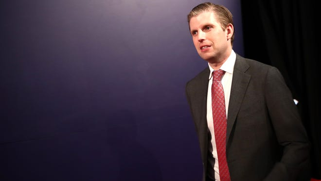 Eric Trump is pictured at the vice presidential debate Oct. 4, 2016 in Farmville, Va.