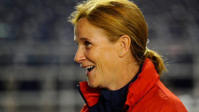 U.S. interim coach Jill Ellis prior to  a friendly against China PR at Qualcomm Stadium on April 10. She's expected to be named head coach.