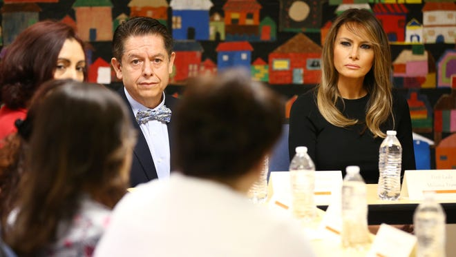 First lady Melania Trump visits with staff at Southwest Key, an immigrant holding facility on  June 28, 2018, in Phoenix.