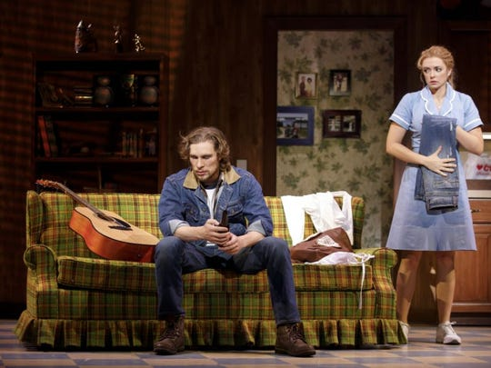 "Nick Bailey and Desi Oakley star in ""Waitress,"" which"