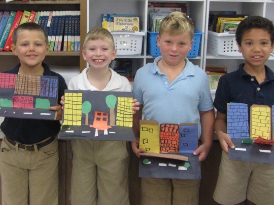 The second-grade students at St. Mary Elementary School have been studying the different types of communities. They focused on urban, rural and suburban communities. Students made 3-D communities to highlight what they had learned. Pictured (from left) are Paul Waldburger, Johnpaul Foord, Maks Chevalier and Aiden Tines.