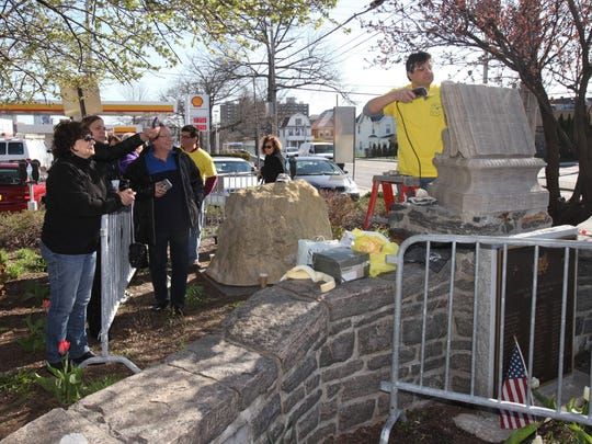 A small crowd watches as White Plains native Joe Giglio