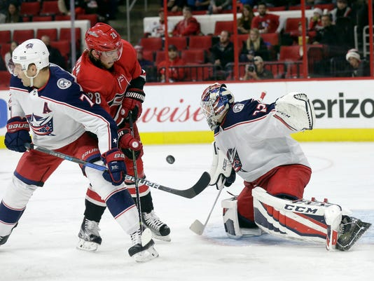 Carolina Hurricanes' Elias Lindholm (28), of Sweden, tries to shoot against Columbus Blue Jackets' Jack Johnson (7) and goalie Sergei Bobrovsky, of Russia, during the second period of an NHL hockey game in Raleigh, N.C., Saturday, Dec. 16, 2017. (AP Photo/Gerry Broome)