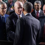 Acting director of the Secret Service Joseph Clancy shakes hands with President Barack Obama at Department of Homeland Security after Obama delivered remarks on his FY2016 budget proposal, on Monday, Feb. 2, 2015, in Washington. Obama warned congressional Republicans Monday that he won't accept a spending plan that boosts national security at the expense of domestic programs for the middle class.   (AP Photo/Evan Vucci)