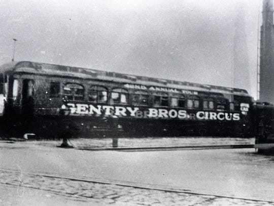 A Genrty Bros. Circus car at the downtown rail station.