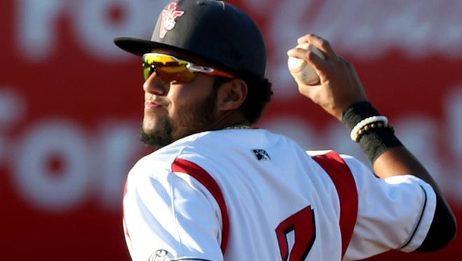 The Volcanoes' Kevin Rivera (2) throws the ball in the 20th anniversary season opener for Volcanoes baseball at Volcanoes Stadium in Keizer on Friday, June 17, 2016.